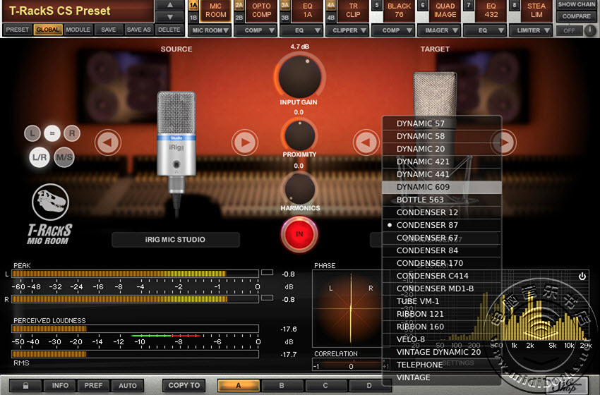 IK多媒体发布能用在Mac和Windows系统上的T-RackS麦克风模型工具(Mic Room)