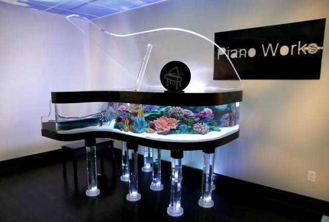 带有鱼缸的三角钢琴?!(视频)