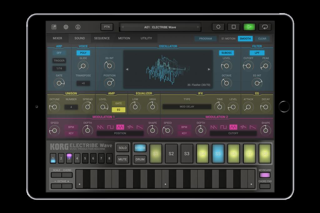 iPad下的音乐创作工具,Korg发布ELECTRIBE Wave波表音乐创作工具