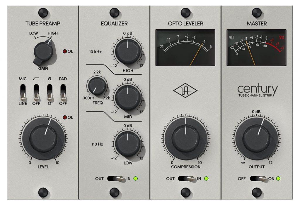 Universal Audio 发布可用于UA音频接口和UAD-2硬件的 Century Tube Channel Strip 插件