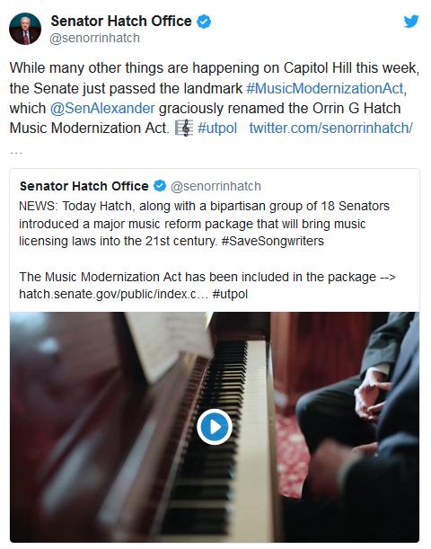 面向21世纪版权结构的美国《音乐现代化法案》已获得参议院通过