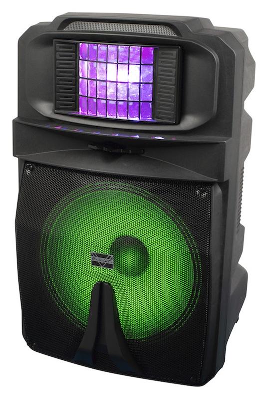 VocoPro推出全新15英寸有源DJ/卡拉OK音箱,带有彩色Derby效果灯