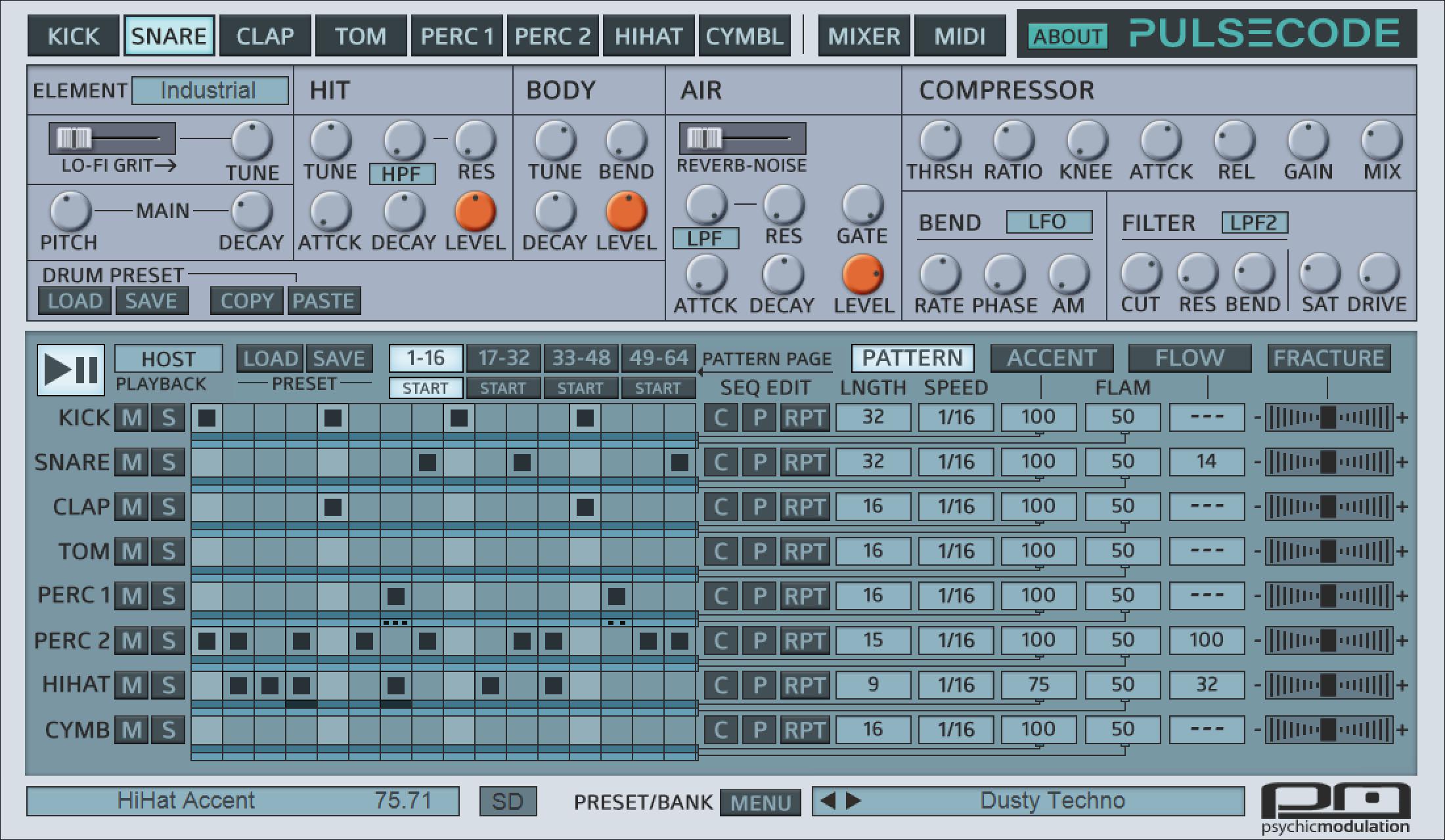 PulseCode — 可用于Mac和Windows的低保真(lo-fi)鼓机(视频)