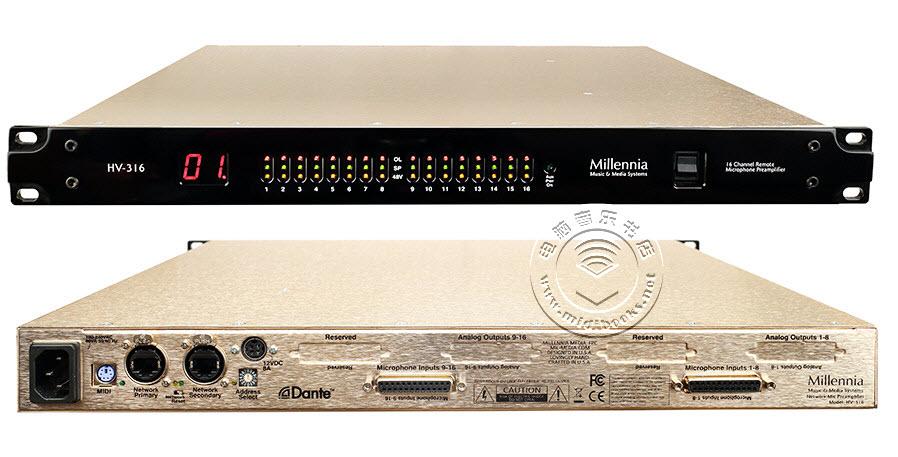 Millennia Media发布带有Dante网络功能的HV-316远程控制麦克风前置放大器