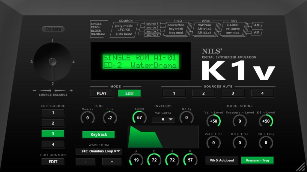 经典合成器Kaiwai K1的模拟插件免费下载(视频)