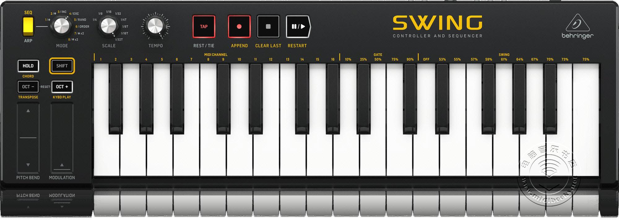 百灵达(Behringer)发布SWING MIDI键盘控制器(视频)