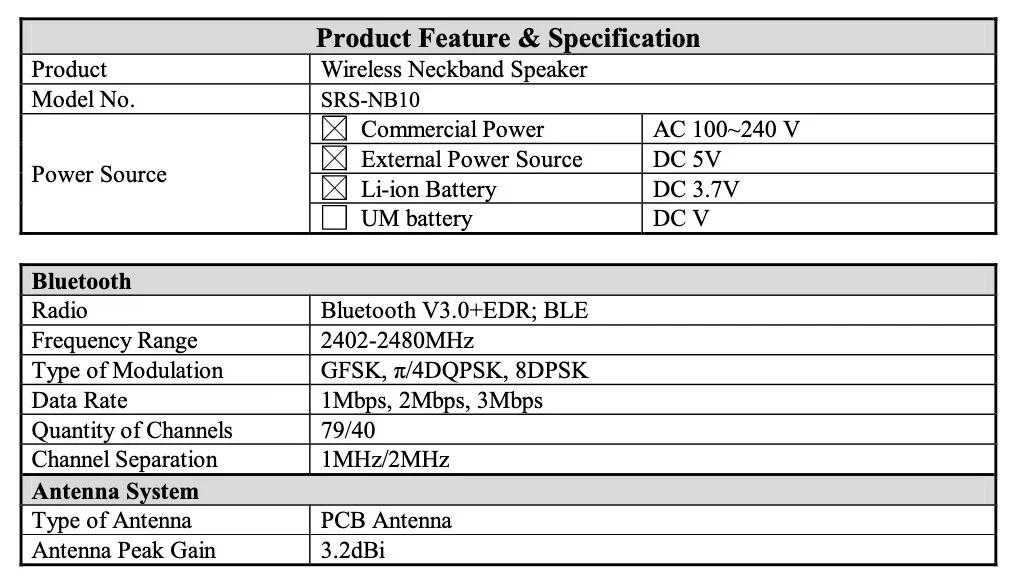 索尼无线颈带扬声器(SRS-NB10)设计和主要规格在FCC上曝